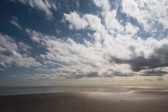 sun setting with clouds beach art print