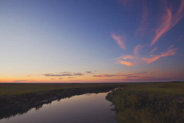 sunset over Johnson Creek beach art print
