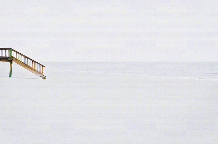 lonely steps beach art print