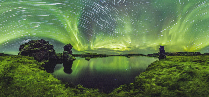 Lake Mývatn 360 Time-Lapse Aurora Panorama