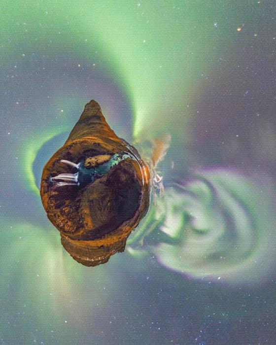 Auroras Over Kirkjufell, Iceland - 360 Planet Panorama