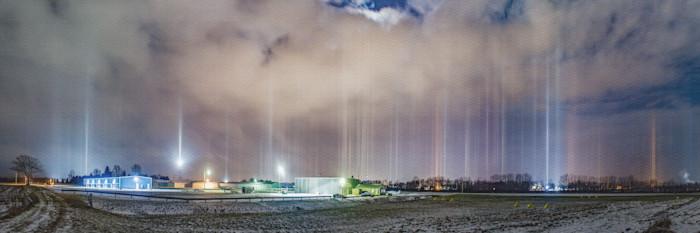 Light Pillars Over Charlotte Airport