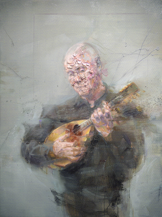 Jean with Mandolin | Portrait by contemporary painter Mathieu Laca