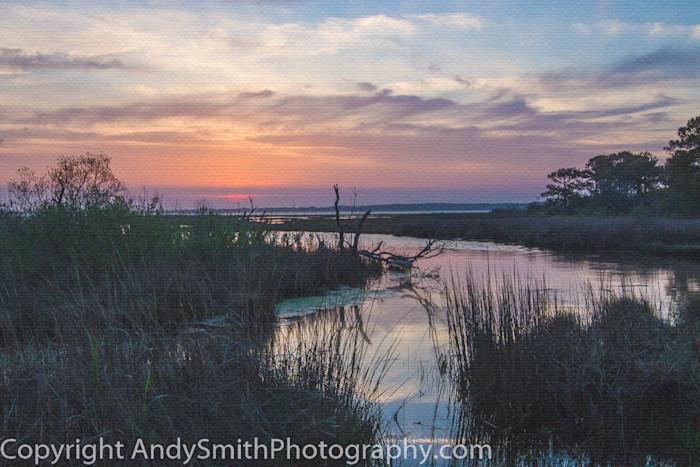 fine art photograph of setting sun at Assateague Island