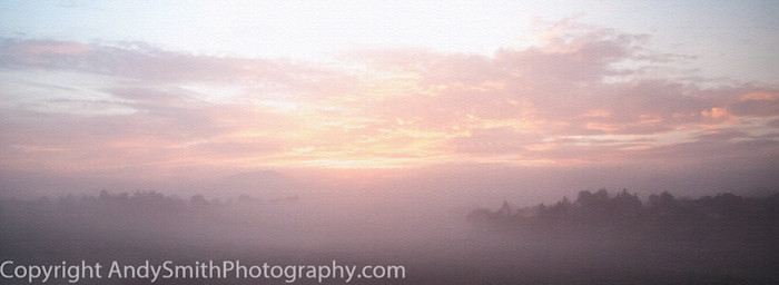 fine art photograph of sunrise through the mist at Mission Mazahua