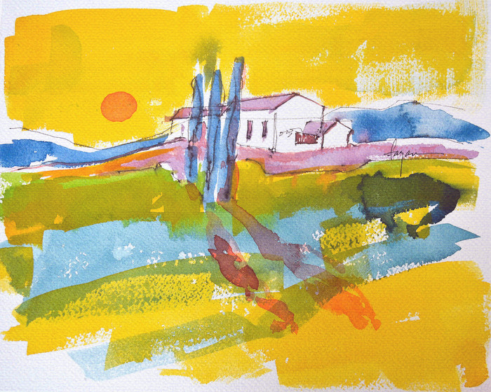 Tuscan Dream, small Tuscan Landscape Watercolor, Dorothy Fagan Collection