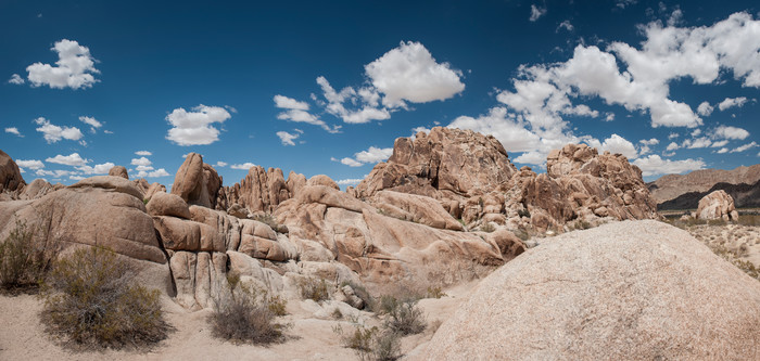 Indian Cove Rock Landscape Pano, Joshua Tree, California