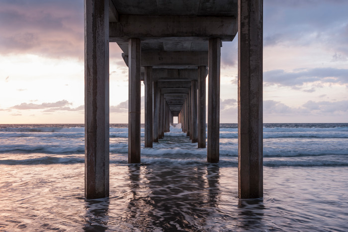 Scripps Pier Sunset Wave Wash, La Jolla, California