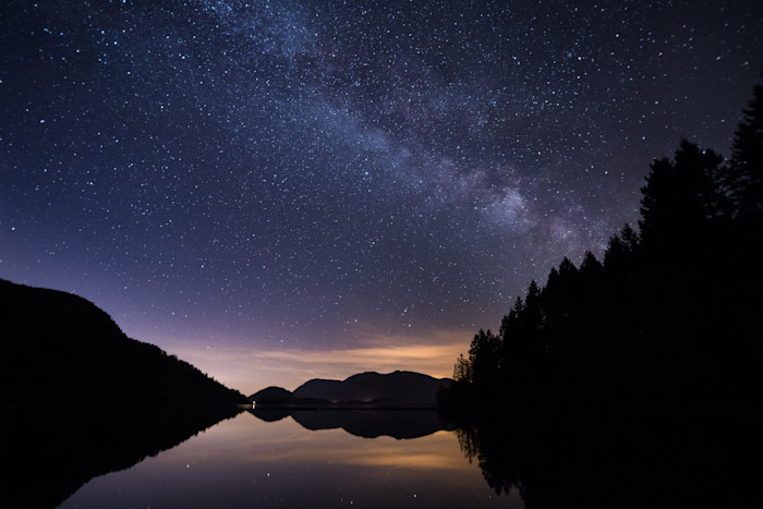 Milky Way over Cowichan Lake Photograph for Sale as Fine Art.