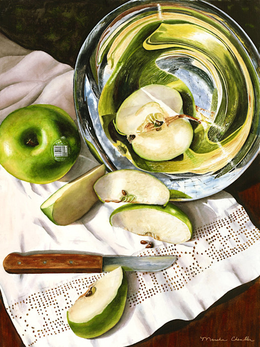 Crisp green apple slices spill out of a silver pedestal bowl onto a linen covered table in this limited edition print from an original watercolor by Marsha Chandler.