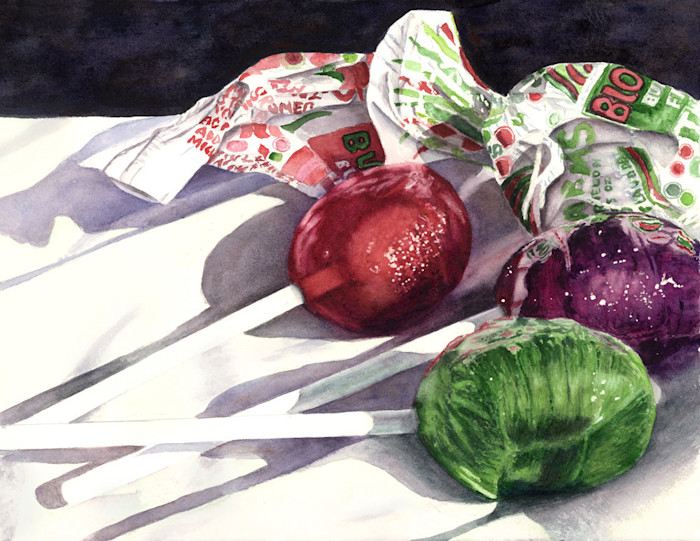 In this bright and whimsical painting, three unwrapped Charms Blow Pops reveal their sweet jewel-like colors in this Limited Edition reproduction from an original watercolor by Marsha Chandler.