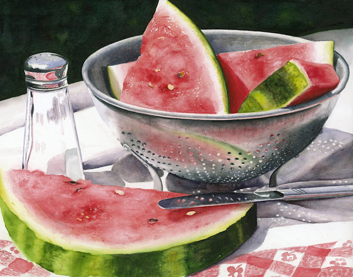 Ripe, juicy sweet watermelon slices, sprinkled with a touch of salt, wait to be enjoyed in this Limited Edition reproduction from an original watercolor by Marsha Chandler.