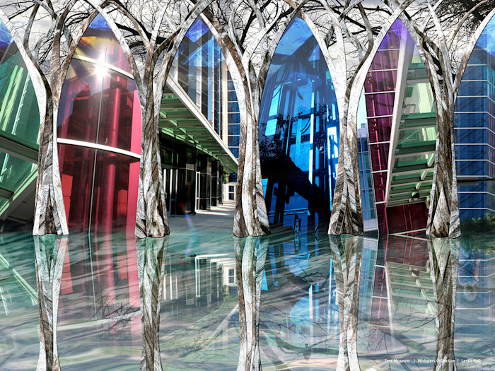 Astonishing reflective forest of trees shine in this digital photo collage by artist Leslie Kell.