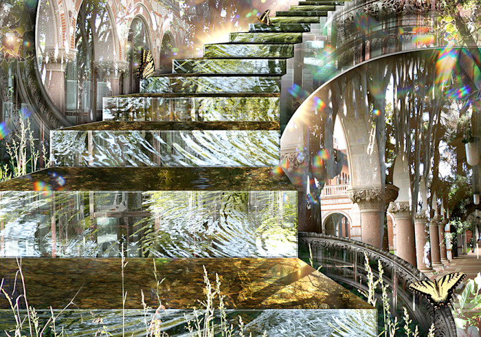 A beautiful confusion of staircase, columns, arches and other architectural details, mixed with wonderful elements of the great outdoors, including yellow butterflies, creates a mystical, magical place in this open edition print by Leslie Kell.