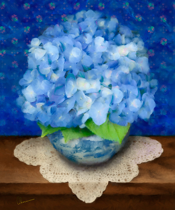 Art print of a paintng, Delft Blue Hydrangea by the Artist, Mary Ahern.