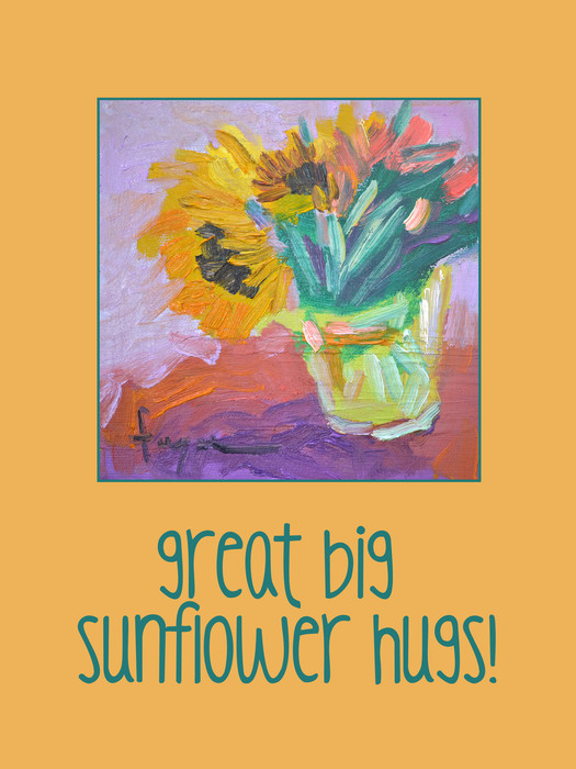 Great Big Sunflower Hugs, Inspirational Wall Decal, Dorothy Fagan Collection