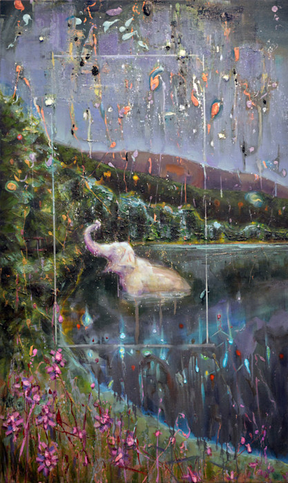 White elephant in landscape painting