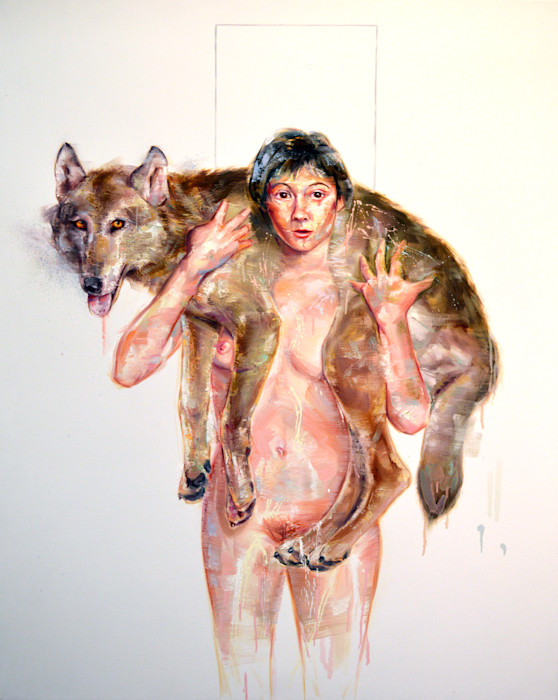 Nude woman portrait with wolf