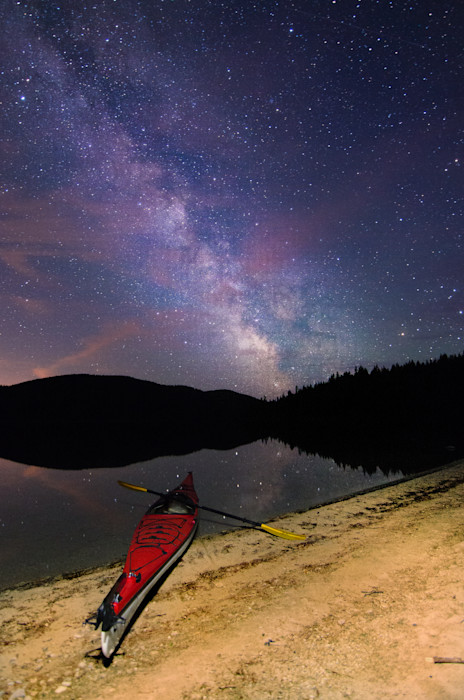 Kayak Under the Milky Way Photograph for Sale as Fine Art.