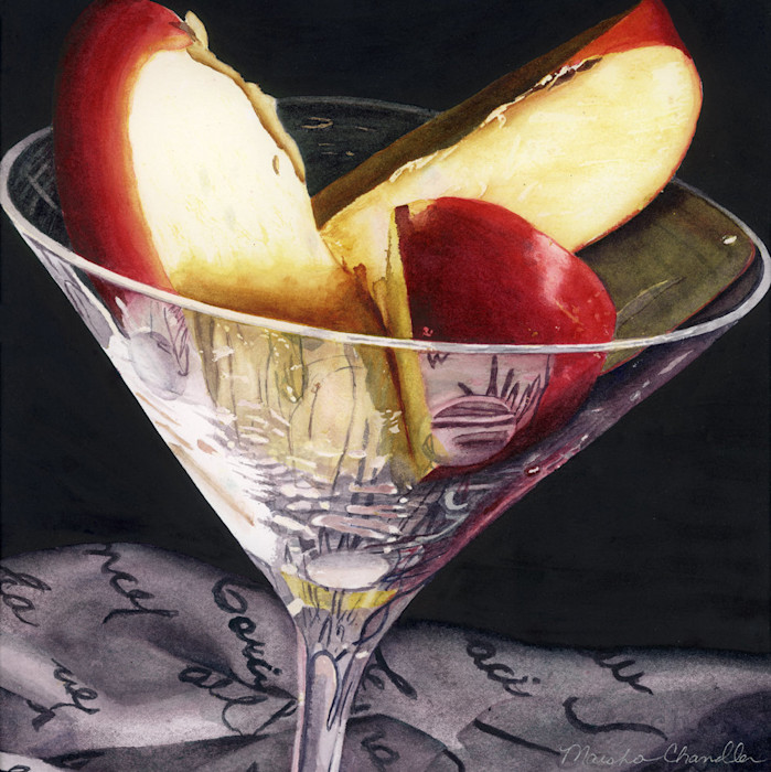 In this perfect Appletini, lucious red apple slices sit in a martini glass in this Limited Edition print from an original watercolor by Marsha Chandler.