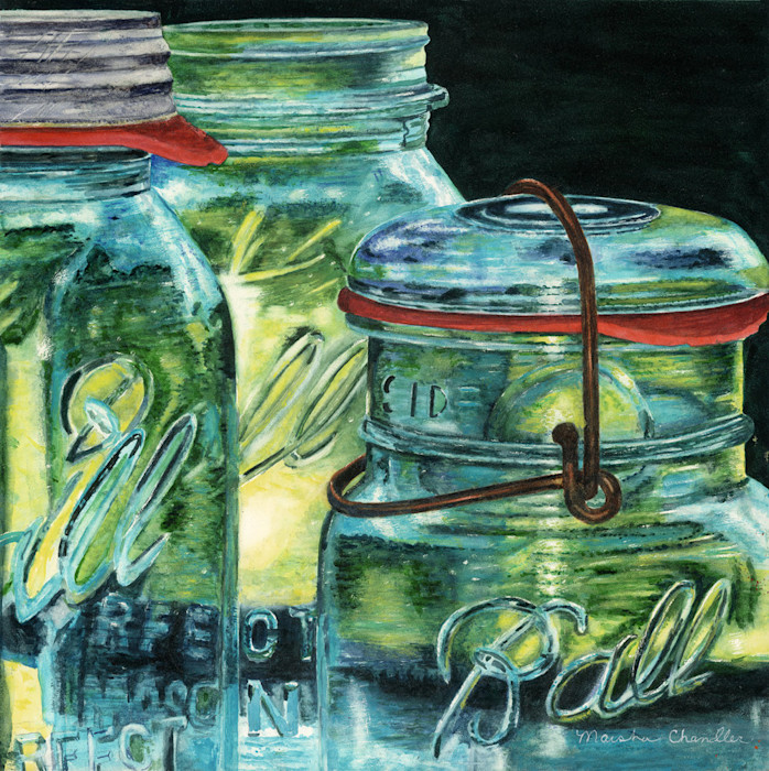 A trio of clear glass Ball Mason Jars with their lids open reflect and redirect light in this Limited Edition reproduction of an original watercolor by Marsha Chandler.