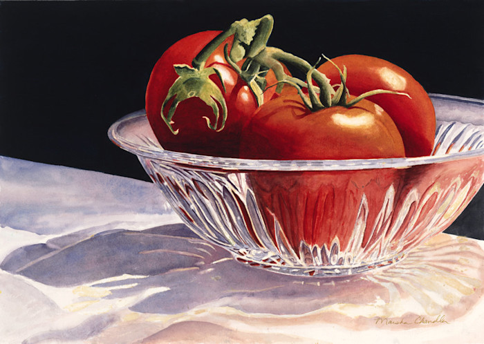 Three bright red tomatoes, fresh off the vine, sit in a crystal bowl in this limited edition print from an original watercolor by Marsha Chandler.