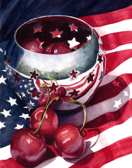 The American flag is seen reflected off the silver bowl filled with cherries in this Limited Edition reproduction from an original watercolor by Marsha Chandler.