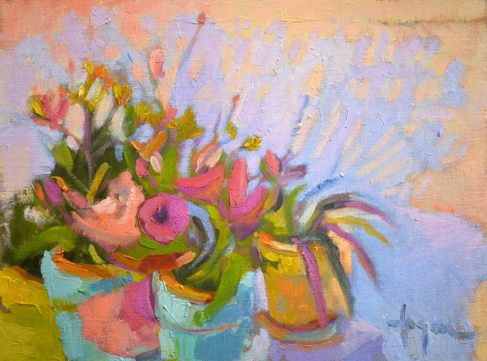 Happy Dance | Flower Painting with Colorful Pots