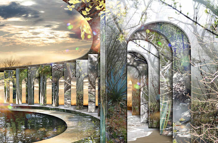 Stunning mirrored imagery in this digital photo collage shows a pathway to a dreamlike world.