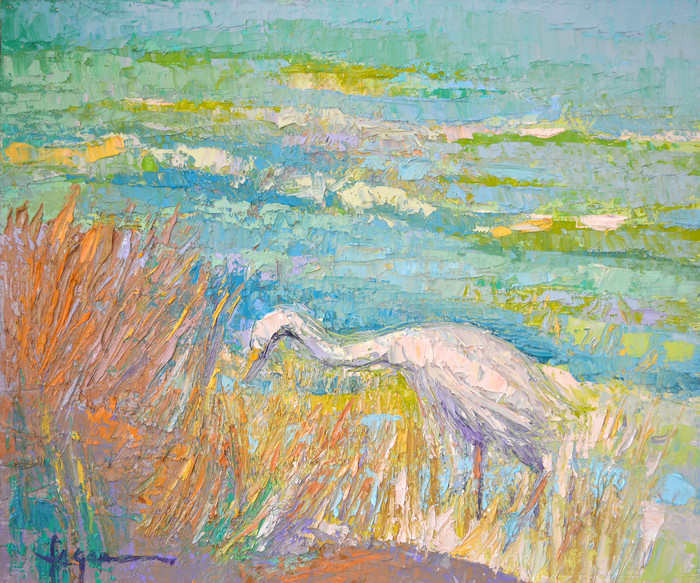 Along the Shore | White Egret Fine Art Print by Dorothy Fagan