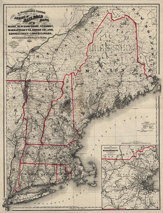 New England Railroad Map 1860