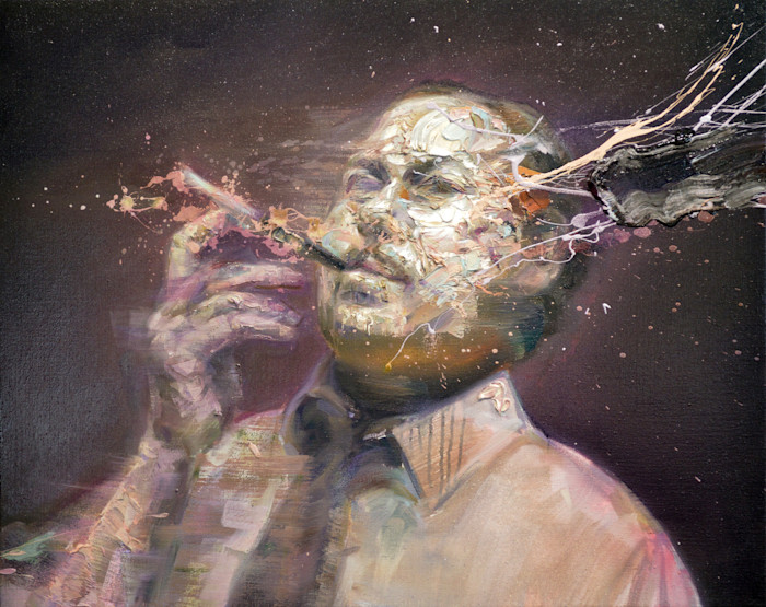 Portrait of Tennessee Williams smoking