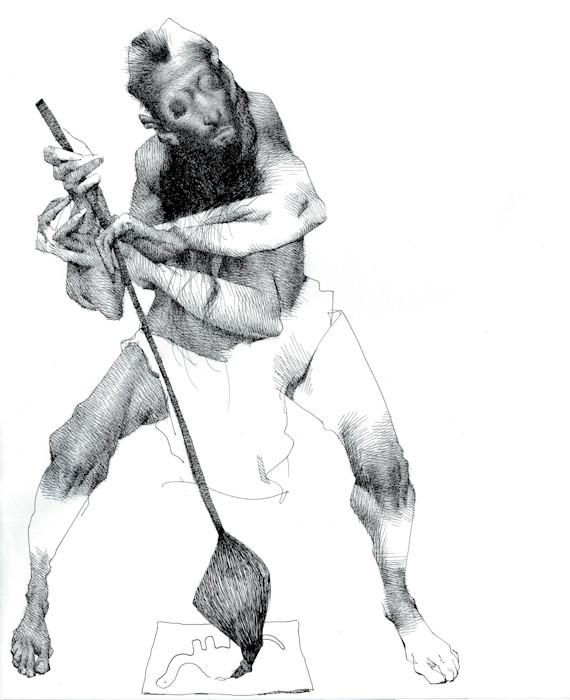 Ink Drawing-Portrait of a modern day artist- by Akira Beard