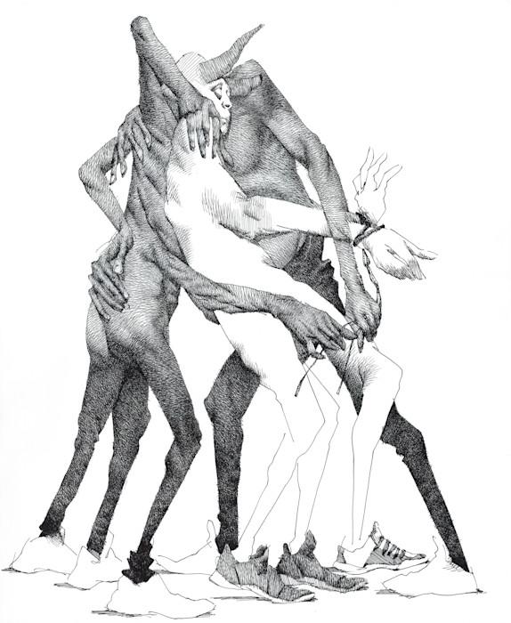 Demons on a Leash-ink drawing- by Akira Beard