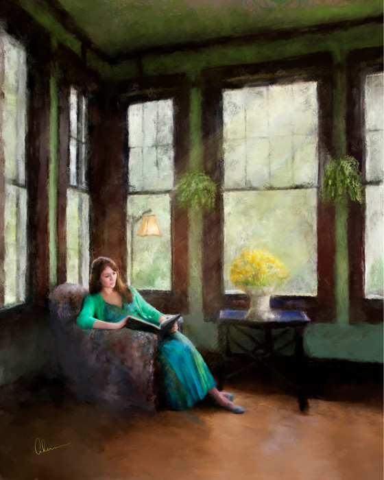 Art print of a woman named Cassie Reading by the Artist, Mary Ahern.