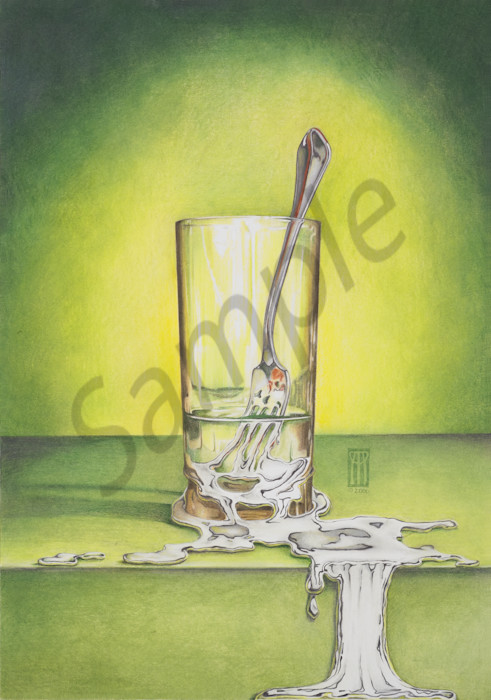 Glass With Melting Fork