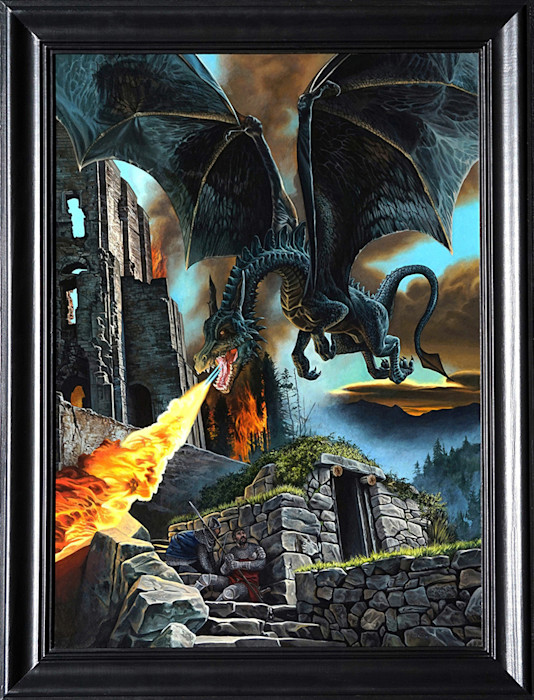 Kevin_grass-dragon_attack_framed-acrylic_on_panel_painting_t35ryd