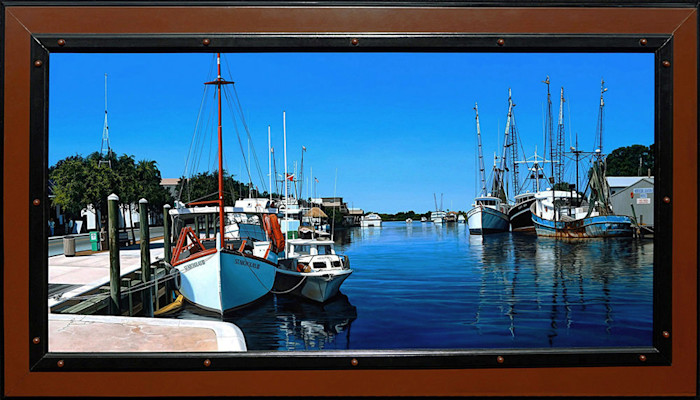 Kevin_grass-the_sponge_docks_framed-acrylic_on_panel_painting_mwxida