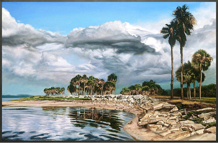 Kevin_grass-rocky_point_framed-acrylic_on_canvas_painting_rcsec9