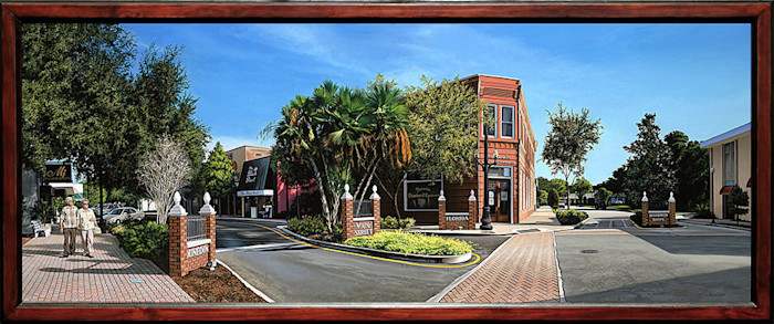 Kevin_grass-downtown_dunedin_framed-acrylic_on_panel_painting_ndmmo8