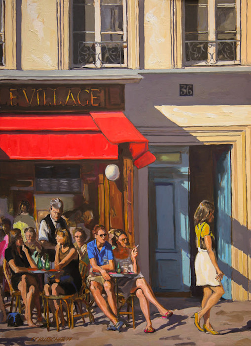 Kutscher_le_village_caf%c3%a9_bistro__oil_on_canvas_on_board__22_x_16_inches._artist_s_ref_2017_10_anmt80