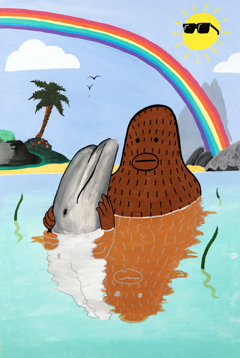 Frank_ape_-_intelligent_beings_-_dolphin_rainbow_painting_-_wet_paint_nyc_gallery_b9imvl
