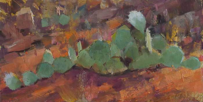Cactus_sedona_george_bodine_6x12_oil_on_canvas_vetofr