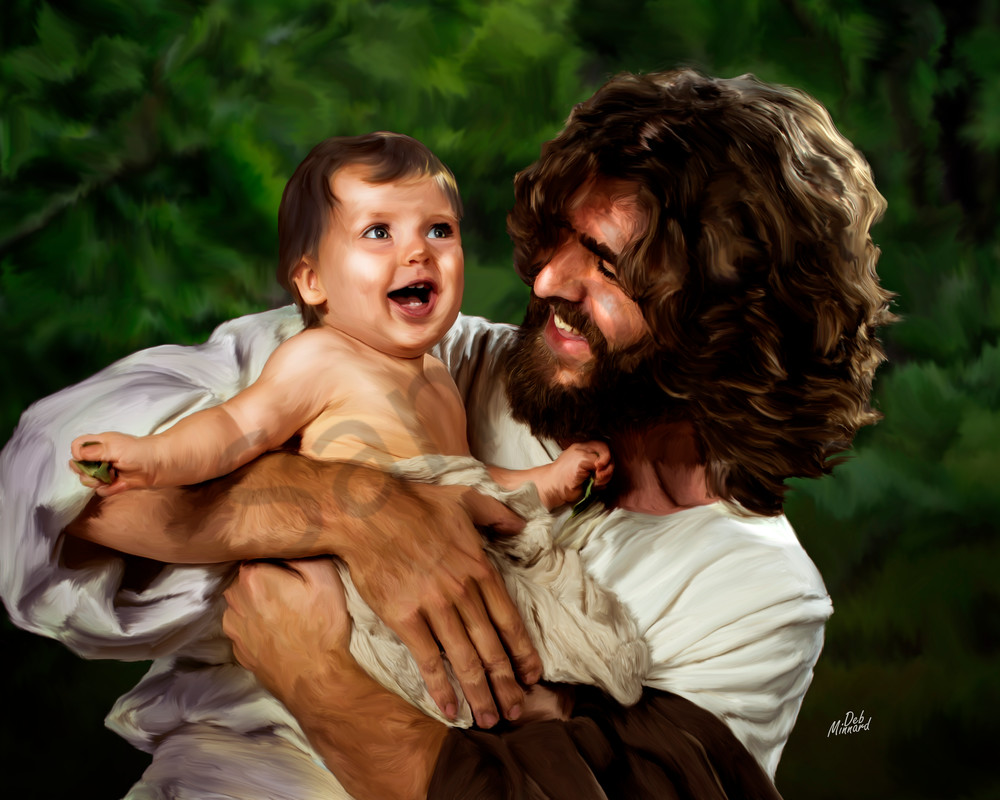 christian art digital painting of joyous jesus laughing with a baby