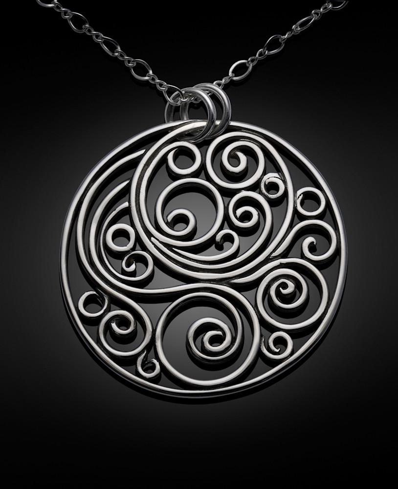 Wind Of The Spirit Swirl Medallion Pendant by Susan Bevis
