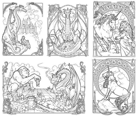 Sample pages from Fantasy Nouveau coloring book