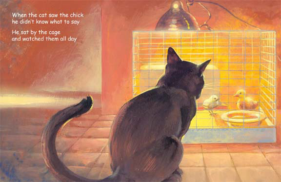 CatTV page with black cat watching, storybook by Herb Leonhard
