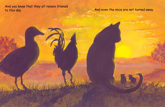 CatTV- sunset cat, chicken, duck and mice, storybook by Herb Leonhard