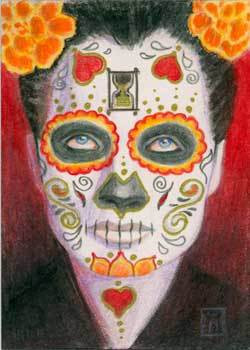 Day of the Dead with Hearts and Hour Glass