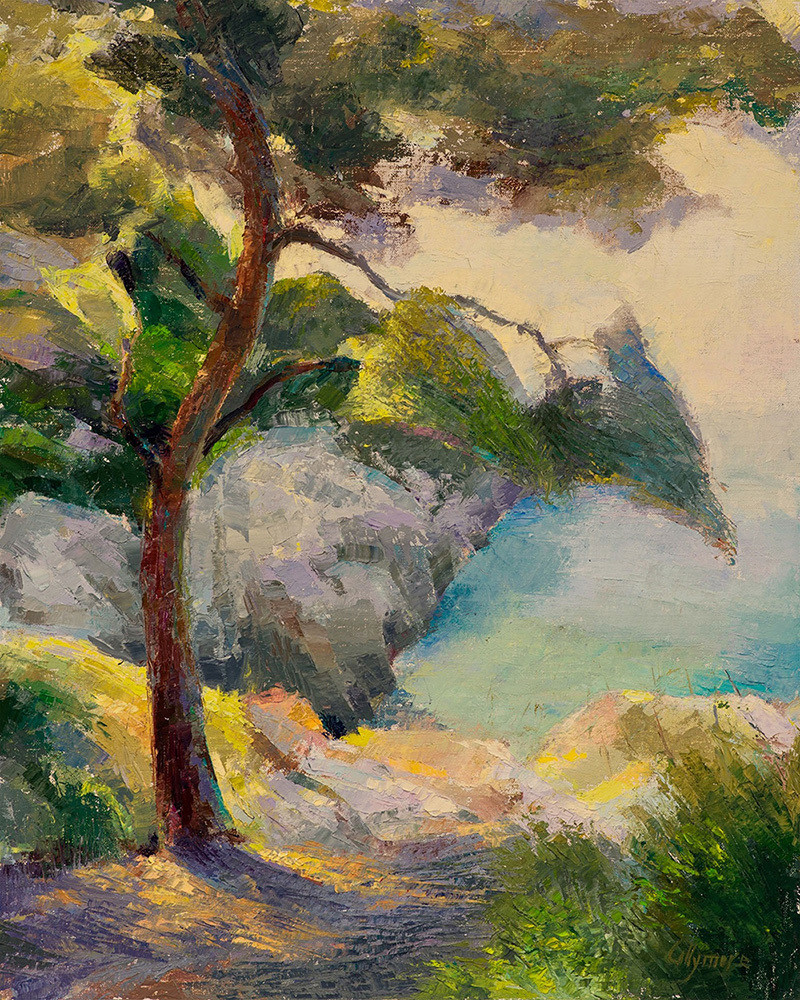 Collymore-Seaside-Pine-Tree-a-la-palette-knife-Cap-Ferrat-ksjl5a